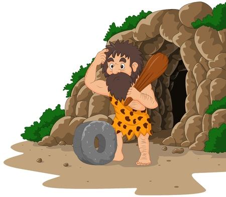 Illustration pour Vector illustration of Cartoon caveman inventing stone wheel with cave background - image libre de droit
