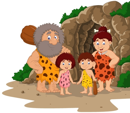 Illustration for Vector illustration of Cartoon caveman family with cave background - Royalty Free Image