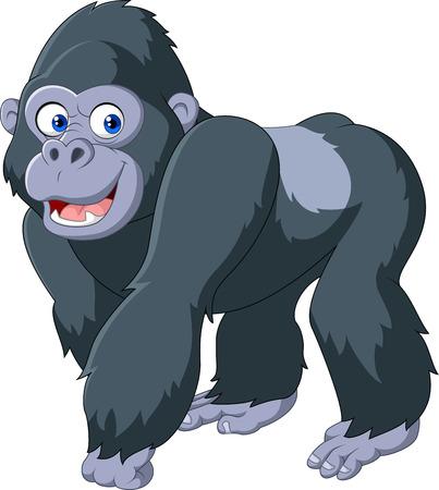 Illustration pour Vector illustration of cartoon silver back gorilla - image libre de droit