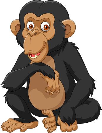 Illustration for Vector illustration of Cartoon chimpanzee isolated on white background - Royalty Free Image