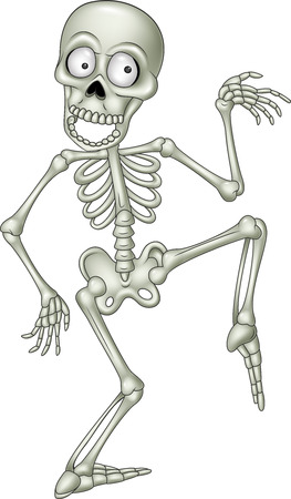 Illustrazione per Vector illustration of Cartoon funny human skeleton dancing - Immagini Royalty Free