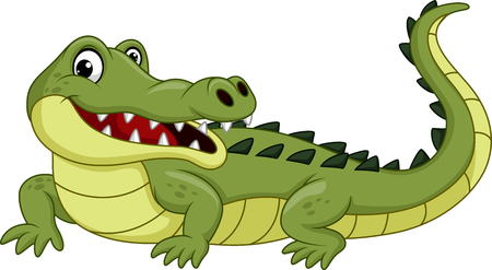 Illustration pour Cartoon crocodile isolated on white background - image libre de droit