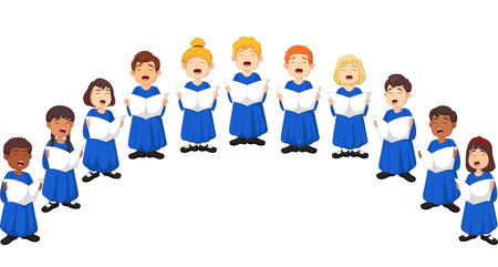 Illustration for Choir girls and boys singing a song - Royalty Free Image