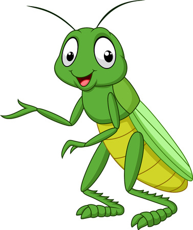 Photo pour illustration of Cartoon grasshopper isolated on white background - image libre de droit