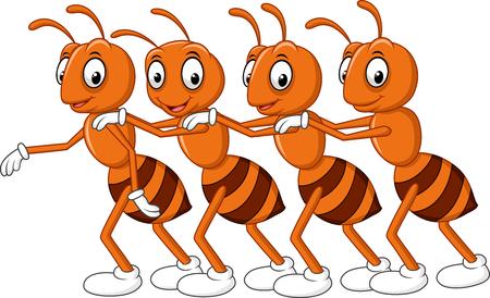 Ilustración de illustration of Cartoon line of worker ants - Imagen libre de derechos