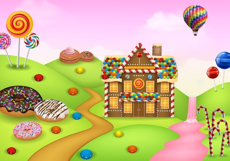 Illustration for Fantasy sweet candyland - Royalty Free Image