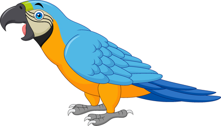 Ilustración de Cartoon blue macaw isolated on white background - Imagen libre de derechos