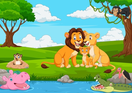 Illustration for Cartoon lion family in the jungle - Royalty Free Image