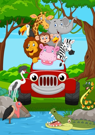 Ilustración de Cartoon wild animal riding a red car in the jungle - Imagen libre de derechos