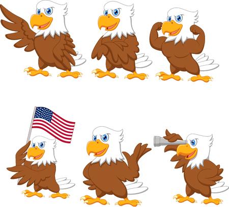 Illustration pour Vector illustration of Cartoon eagles collection set - image libre de droit