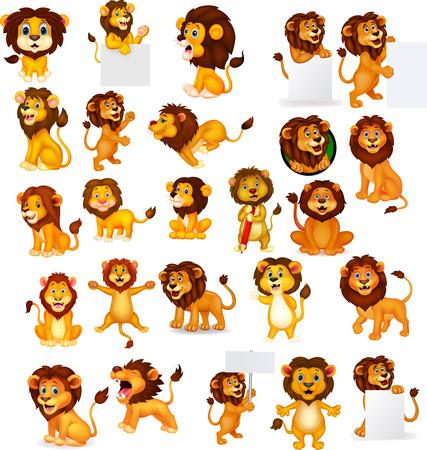 Illustration pour Vector illustration of Cartoon lion collection set - image libre de droit
