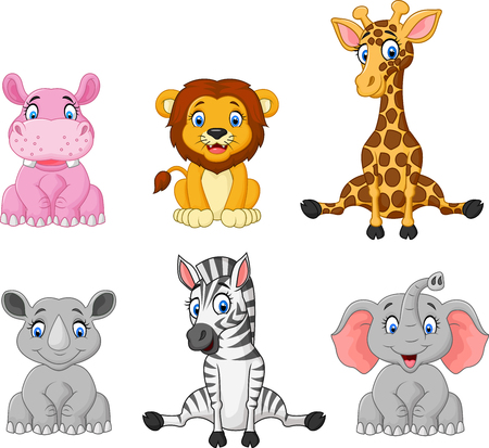 Illustration pour Vector illustration of Wild animal cartoon collection set - image libre de droit