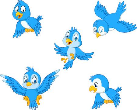 Ilustración de Vector illustration of Cartoon blue bird collection set - Imagen libre de derechos