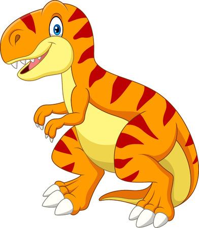 Illustrazione per Vector illustration of Cartoon tyrannosaurus isolated on white background - Immagini Royalty Free