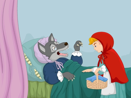 Illustrazione per Cartoon little red riding hood and wolf - Immagini Royalty Free