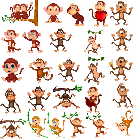 Illustration for Cartoon happy monkey collection with different actions - Royalty Free Image