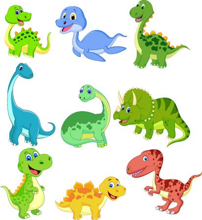 Illustrazione per Cartoon dinosaurs collection set - Immagini Royalty Free
