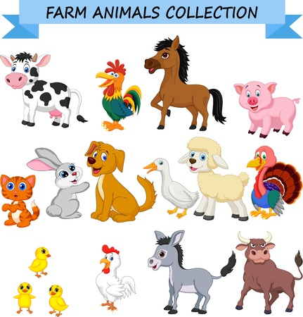 Illustration pour Cartoon farm animals collection - image libre de droit