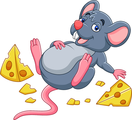 Illustrazione per Vector illustration of Cartoon mouse with a cheese and full belly - Immagini Royalty Free