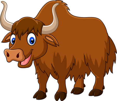 Ilustración de Vector illustration of Cartoon happy yak - Imagen libre de derechos