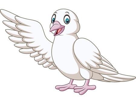 Illustration pour Vector illustration of Cartoon cute dove presenting - image libre de droit
