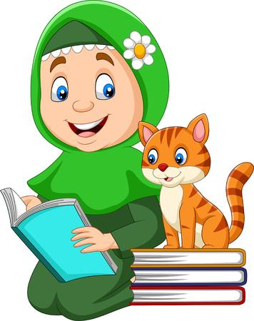 Illustration for Muslim girl reading a book with cat - Royalty Free Image