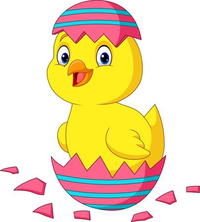 Illustration pour Cartoon little chick hatching from an Easter egg - image libre de droit
