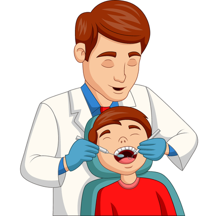 Illustrazione per Vector illustration of Cartoon little boy having his teeth checked by dentist - Immagini Royalty Free