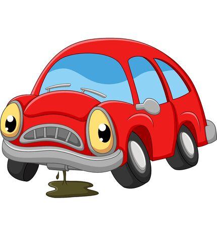 Illustrazione per Cartoon red car sad in need of repair - Immagini Royalty Free