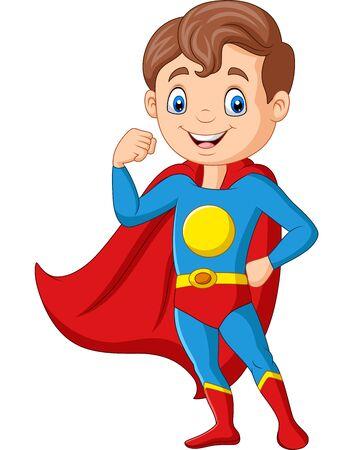Ilustración de Vector illustration of Cartoon happy superhero boy posing - Imagen libre de derechos