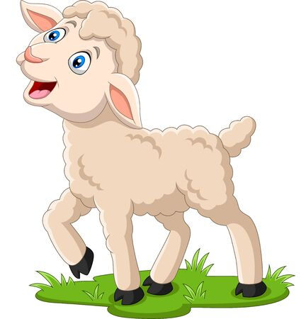 Illustration pour Vector illustration of Cartoon happy lamb on the grass - image libre de droit