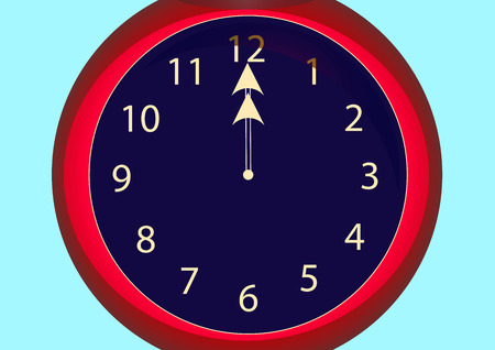 Photo for red clock hands for twelve hours - Royalty Free Image