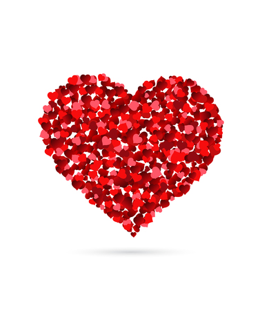 Illustration pour Heart made of small hearts isolated on white background - image libre de droit