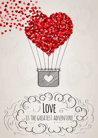 Illustration pour Valentine card with a heart-shaped hot air balloon falling apart into small hearts and a love slogan in vector - image libre de droit