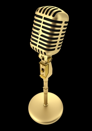 Photo for golden vintage microphone isolated on black background - Royalty Free Image
