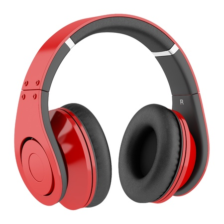 Photo for red and black wireless headphones isolated on white background - Royalty Free Image