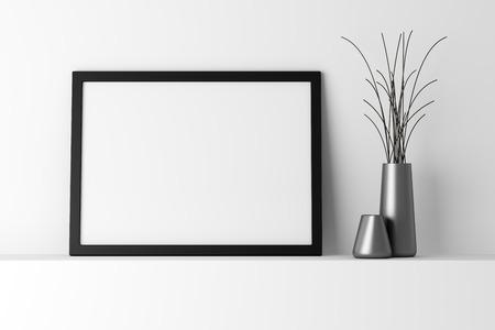 Photo for blank black photo frame on white shelf - Royalty Free Image