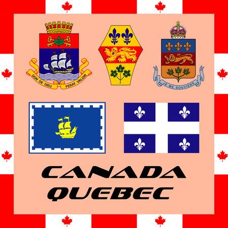 Illustration pour Official government elements of Canada - Quebec - image libre de droit