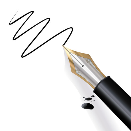 Illustration pour Fountain pen writing paper with black ink - image libre de droit