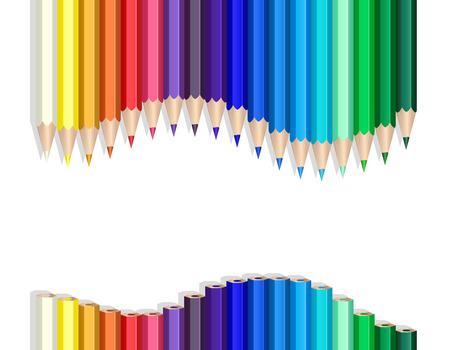 Illustration pour Color pencils making a wave over white - image libre de droit