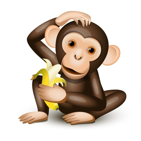 Little monkey holding a banana isolated on white