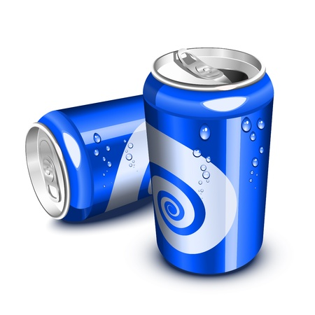 Blue soda cans,  opened and closed