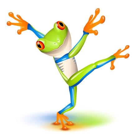 Ilustración de Dancing Tree Frog in equilibrium  - Imagen libre de derechos