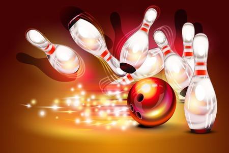 Ilustración de Bowling game strike over dark red background, red bowling ball crashing into the pins - Imagen libre de derechos