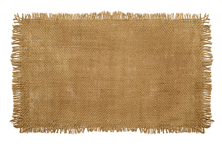 Foto de Burlap Hessian Sack material with worn frayed edges isolated on a white background - Imagen libre de derechos