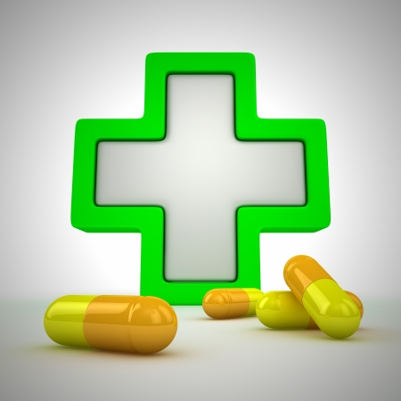 Photo for Medical cross and pills - first aid concept - Royalty Free Image