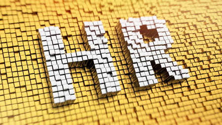 Photo for Pixelated acronym HR made from cubes, mosaic pattern - Royalty Free Image