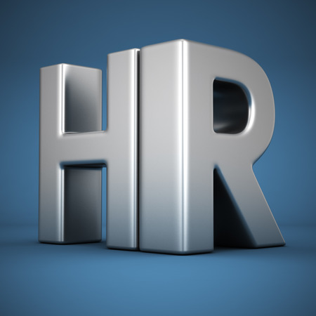 Photo for Big metal letters HR on blue background - Royalty Free Image