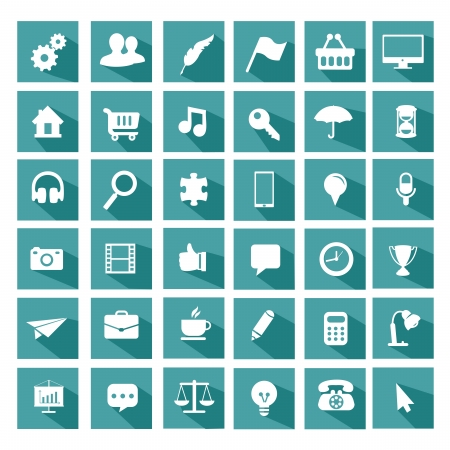 Illustration pour Universal flat icon set - image libre de droit