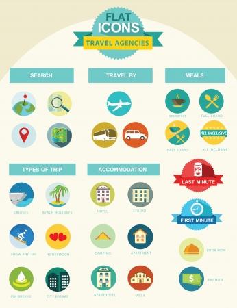 Illustration pour Flat icon collection for travel agencies - image libre de droit